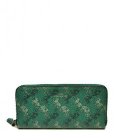 Coach Viridian Sage Horse And Carriage Accordion Wallet