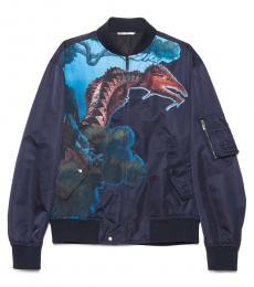 Valentino Garavani Navy Blue Dragons Garden Bomber Jacket
