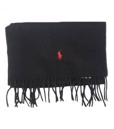 Ralph Lauren Black Red Pony Scarf