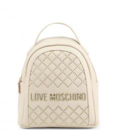 Love Moschino White Studded Small Backpack