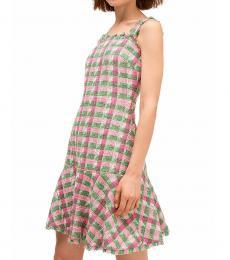Kate Spade Bright Peony Plaid Tweed Drop-Waist Dress
