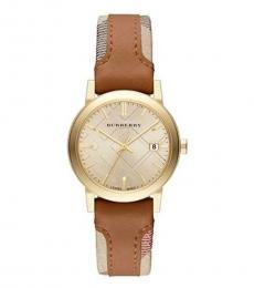 Burberry Brown Gold Haymarket Watch
