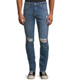 7 For All Mankind Blue Paxtyn Torn-Knee Jeans