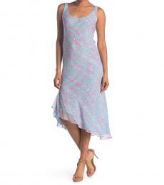 Diane Von Furstenberg Light Blue Asymmetrical Patterned Dress