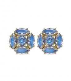 Blue Marquise Cluster Stud Earrings