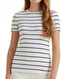 Ralph Lauren White Striped Cotton-Blend Tee