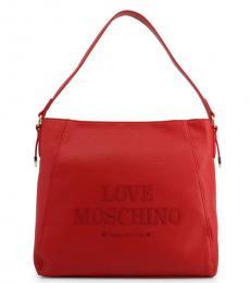 Love Moschino Red Logo Medium Hobo