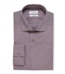 Purple White Slim Fit Stripe Dress Shirt