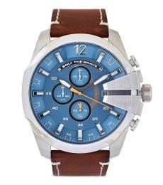 Diesel Brown Mega Chief Blue Dial Watch