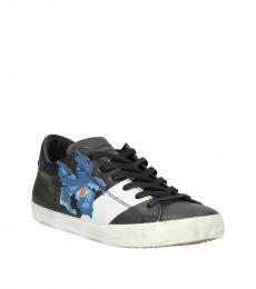 Black Floral Print Low Top Sneakers