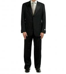 Black Solid Classic Fit Wool Suit