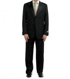 Armani Collezioni Black Solid Classic Fit Wool Suit