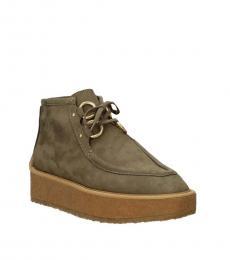Green Platform Ankle Boots