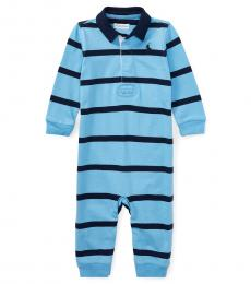 Baby Boys Blue Striped Rugby Coverall