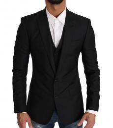 Black 2 Piece Wool Martini Vest Blazer