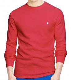 Ralph Lauren Red Crew Waffle Thermal Sweater