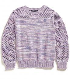 Calvin Klein Girls Purple Marled Contrast Sweater