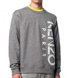 Kenzo Grey Cotton Logo Printed Sweatshirt