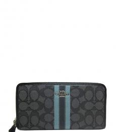 Coach Black Accordion Signature Zip Around Wallet