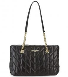 Karl Lagerfeld Black Quilted Chain Large Tote