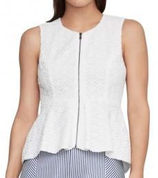 BCBGMaxazria Optic White Lace Zip-Front Peplum Top