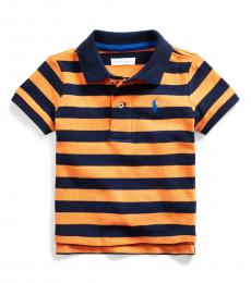 Ralph Lauren Baby Boys Thai Orange Striped Polo
