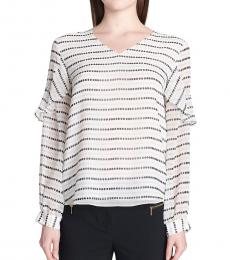 Calvin Klein Soft White Printed Ruffle Top