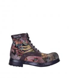 Brown Floral Embroidered Boots
