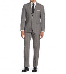 Grey Plaid Notch Lapel Slim Fit Suit