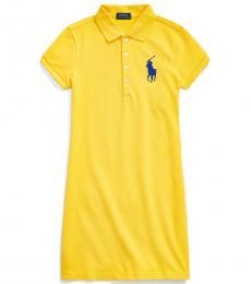 Girls Lemon Rind Stretch Mesh Polo Dress
