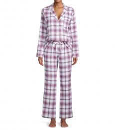 White 2-Piece Flannel Pajama Set