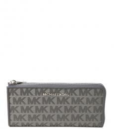 Michael Kors Heather Grey Three Quarter Zip Wallet