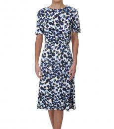 Ralph Lauren Navy Blue Floral Print Gathered Midi Dress