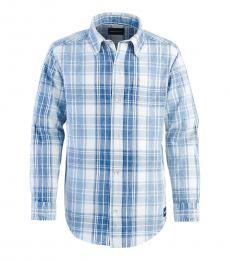 Boys Blue Plaid Shirt