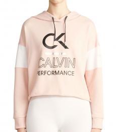 Calvin Klein Pink Sand Logo Color Block Hoodie