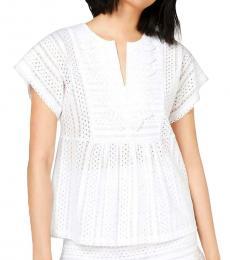 Michael Kors White Crochet Trim Lace Blouse