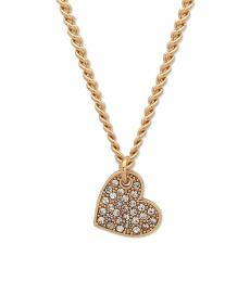 Gold Crystal Heart Pendant Necklace