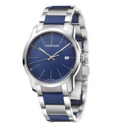 Calvin Klein Silver Blue Logo Watch