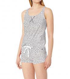 Calvin Klein Tossed Ck White Racerback Tank Shorts Pajama Set