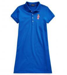 Ralph Lauren Girls Heritage Blue Stretch Mesh Polo Dress