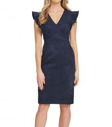 DKNY Midnight Ruffled Cap-Sleeve Sheath Dress