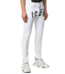 Dsquared2 White Logo Regular Fit Jeans