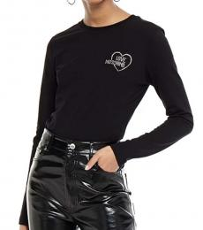 Love Moschino Black Crystal-Embellished Jersey Top