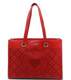 Love Moschino Red Logo Medium Tote