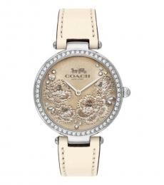 Coach Off White Floral Dial Watch