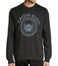 Calvin Klein Black Logo Cotton-Blend Sweatshirt