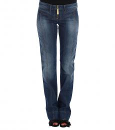 Blue Cotton Bootcut Jeans