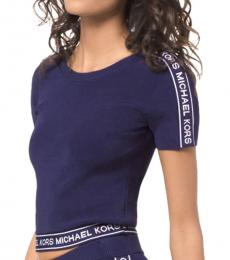 White True Navy Logo Tape Cropped Top