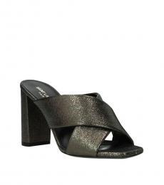 Saint Laurent Grey Metallic Crisscross Heels