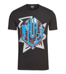 Just Cavalli Black Graphic Print T-Shirt